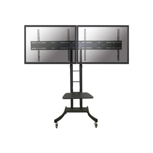 """NewStar Mobile Dual TV Floor Stand for two 32""""-70"""" Screens, Height Adjustable - Black - Cart for 2 LCD / plasma panels - black - screen size: 42""""-70"""""""