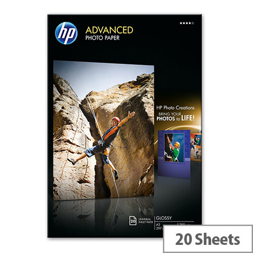 HP Advanced Photo Paper - Glossy - A3 (297 x 420 mm) - 250 g/m² - 20 sheet(s) photo paper - for Officejet K7100; Photosmart 6510 B211a, 6515 B211a, Pro B8850, Pro B9180, Pro B9180gp