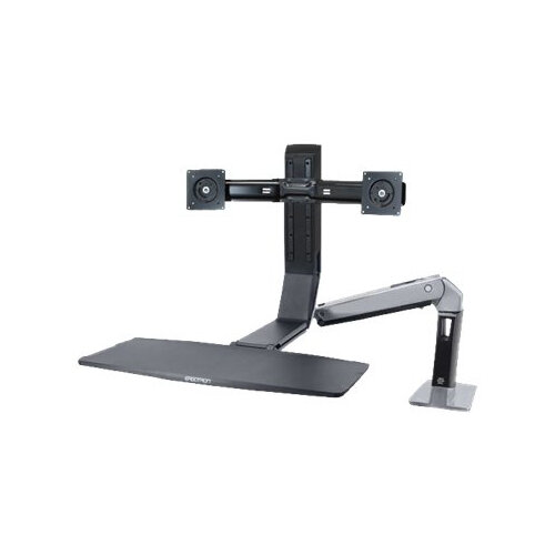 Ergotron WorkFit-A Dual - Stand (tray, desk clamp mount, pivot) for 2 LCD displays / keyboard / mouse - black, polished aluminium - screen size: up to 22""