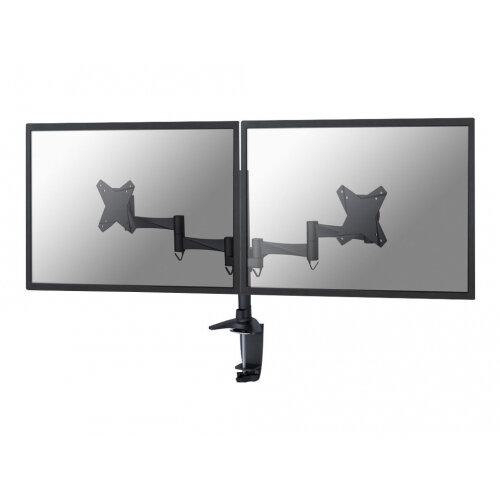 "NewStar Full Motion Dual Desk Mount (clamp &grommet) for two 10-27"" Monitor Screens, Height Adjustable - Black - Adjustable arm for 2 LCD displays - black - screen size: 10""-27"" - desk-mountable"