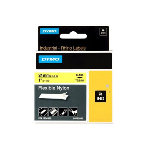 DYMO RhinoPRO Flexible Nylon - Nylon - black on yellow - Roll (2.4 cm x 3.5 m) 1 roll(s) flexible tape - for Rhino 4200, 6000; RhinoPRO 6000, 6500