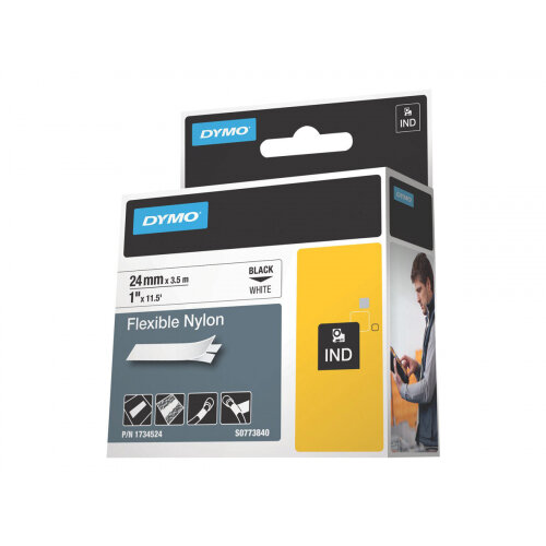 DYMO RhinoPRO Flexible Nylon - Nylon - black on white - Roll (2.4 cm x 3.5 m) 1 roll(s) flexible tape - for Rhino 4200, 6000; RhinoPRO 6000, 6500