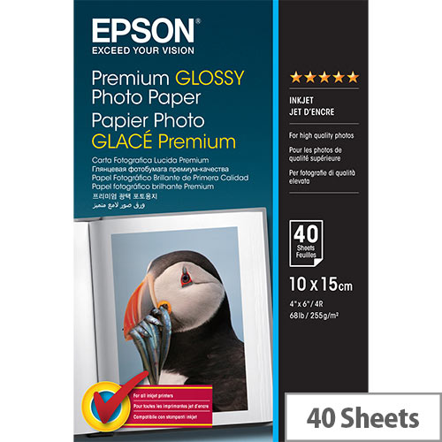 Epson Premium Glossy Photo Paper - Glossy - 100 x 150 mm 40 sheet(s) photo paper - for EcoTank ET-16500; Expression Home HD XP-15000; Expression Premium XP-540, 6000, 6005, 900