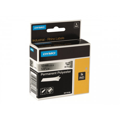 DYMO RhinoPRO Permanent Polyester - Polyester - permanent adhesive - black on white - Roll (2.4 cm x 5.5 m) 1 roll(s) tape - for Rhino 4200, 6000; RhinoPRO 6000, 6500