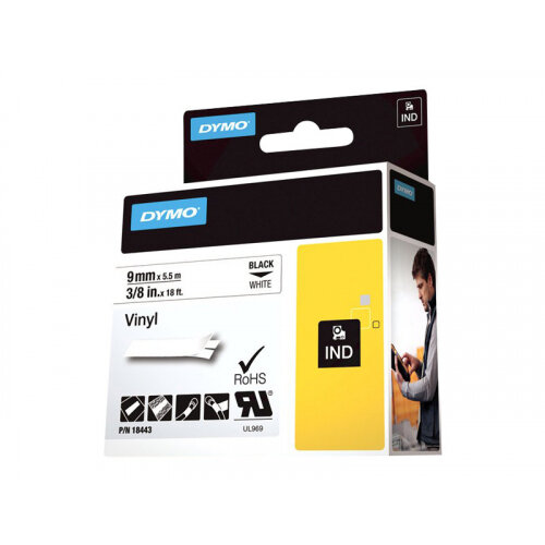 DYMO - Vinyl - permanent adhesive - white - Roll (0.9 cm x 5.5 m) 1 roll(s) tape - for DYMO ILP219; Rhino 4200, 6000, 6000 Hard Case Kit