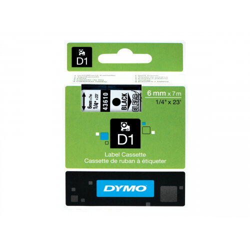 DYMO D1 - Glossy - black on clear - Roll (0.6cm x 7m) 1 roll(s) tape - for LabelMANAGER