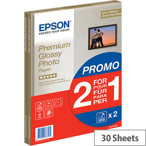 Epson Premium Glossy Photo Paper BOGOF - Glossy - A4 (210 x 297 mm) - 255 g/m² - 15 sheet(s) photo paper (pack of 2) - for EcoTank ET-16500; Expression Home HD XP-15000; Expression Premium XP-540, 900