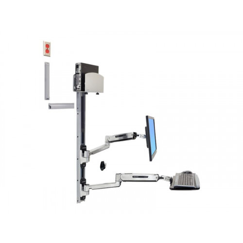 "Ergotron LX Sit-Stand Wall Mount System - Mounting kit (wall arm, CPU holder, mouse holder, 2 track covers, keyboard arm, 2 cable channels, wrist rest) for LCD display / keyboard / mouse / CPU - polished aluminium - screen size: 42"" - wall-mountable"