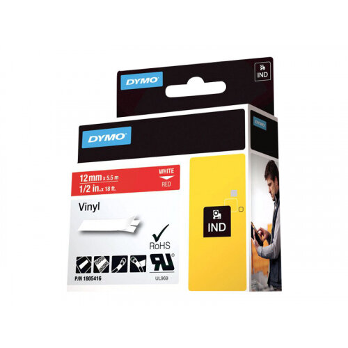 DYMO Rhino - Vinyl - permanent adhesive - white on red - Roll (1.2 cm x 5.5 m) 1 roll(s) tape - for Rhino 4200, 5000, 5200, 6000, 6500; RhinoPRO 3000
