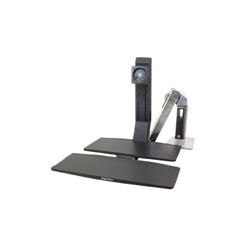 Ergotron WorkFit-A Single LD with Worksurface+ - Stand (tray, articulating arm, desk clamp mount, pivot) for LCD display / keyboard / mouse - black, polished aluminium - screen size: up to 24""