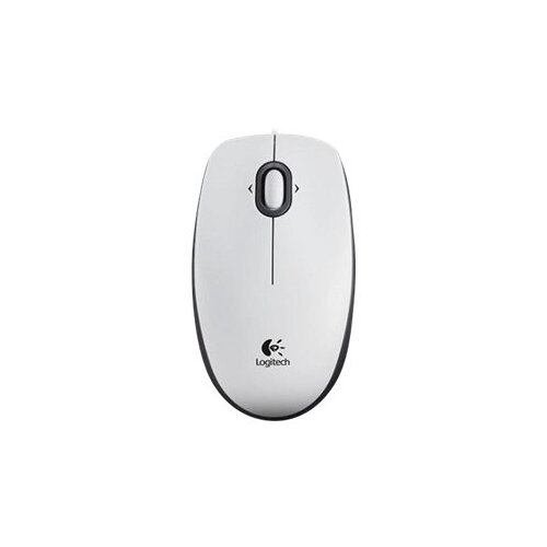 Logitech B100 - Mouse - right and left-handed - optical - 3 buttons - wired - USB - white