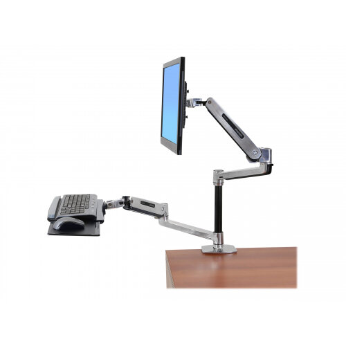 Ergotron WorkFit-LX Sit-Stand Desk Mount System - Mounting kit (articulating arm, pole, keyboard arm, 2 extension brackets, wrist rest, 2 collars, mount bracket, grommet base, keyboard tray, desk clamp base) for LCD display / keyboard / mouse - aluminium