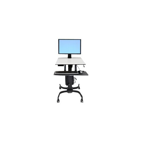 Ergotron WorkFit-C Single HD Sit-Stand Workstation - Cart for LCD display / keyboard / mouse / CPU - grey, black - screen size: 30""