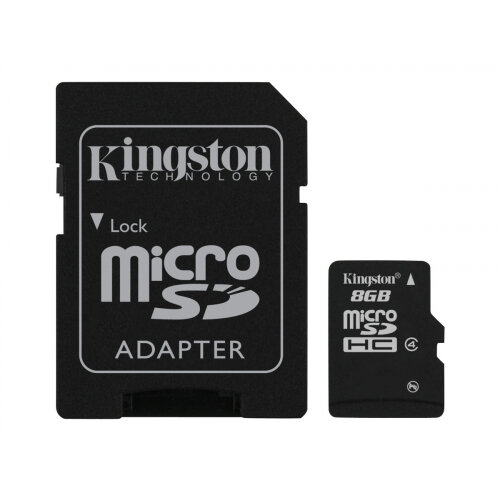 Kingston - Flash memory card (microSDHC to SD adapter included) - 8 GB - Class 4 - microSDHC