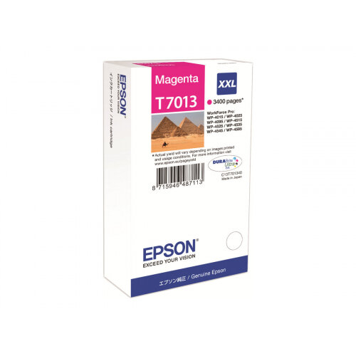 Epson T7013 - XXL size - magenta - original - blister - ink cartridge - for WorkForce Pro WP-4015 DN, WP-4095 DN, WP-4515 DN, WP-4525 DNF, WP-4595 DNF