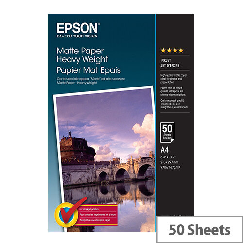 Epson - Matte - A4 (210 x 297 mm) - 167 g/m² - 50 sheet(s) paper - for EcoTank ET-16500, L385; Expression Premium XP-540, 900; SureColor P800, SC-P5000
