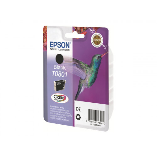 Epson (T0801) Original Ink Cartridge Capacity 7.4ml Blister Ink Cartridge For Stylus Photo P50, PX650, PX660, PX700, PX710, PX720, PX730, PX800, PX810, PX820, PX830 (C13T08014011)