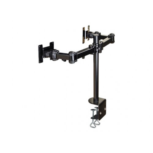 "NewStar Full Motion Dual Desk Mount (clamp) for two 10-27"" Monitor Screens, Height Adjustable - Black - Adjustable arm for 2 LCD displays - black - screen size: 10""-27"" - desk-mountable"