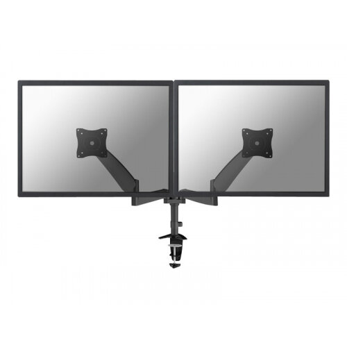 "NewStar Full Motion Dual Desk Mount (clamp &grommet) for two 10-27"" Monitor Screens, Height Adjustable (gas spring) - Black - Desk mount for 2 LCD displays (Tilt &Swivel) - black - screen size: 10""-27"""