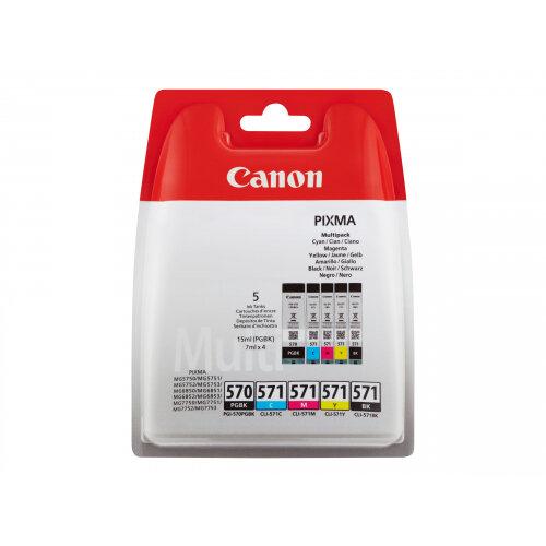 Canon PGI-570/CLI-571 PGBK/BK/C/M/Y Multi Pack - 5-pack - black, yellow, cyan, magenta - original - blister - ink tank - for PIXMA TS5051, TS5053, TS5055, TS6050, TS6051, TS6052, TS8051, TS8052, TS9050, TS9055