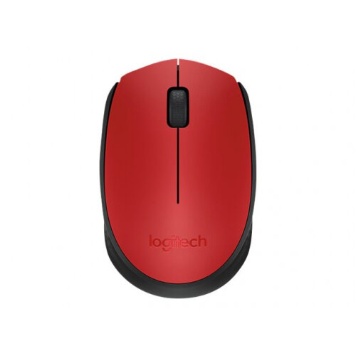Logitech M171 - Mouse - wireless - 2.4 GHz - USB wireless receiver - black, red
