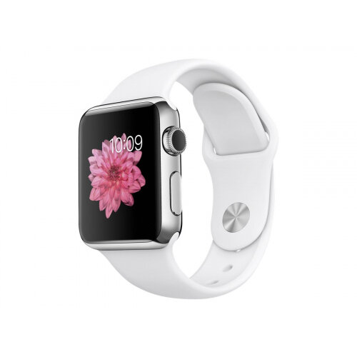 Apple Watch Original - 38 mm - stainless steel - smart watch with sport band - white - band size 130-200 mm - S/M/L - Wi-Fi, Bluetooth - 40 g