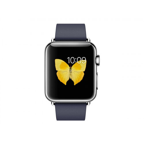 Apple Watch Original - 38 mm - stainless steel - smart watch with modern buckle - leather - midnight blue - band size 135-150 mm - S - Wi-Fi, Bluetooth - 40 g