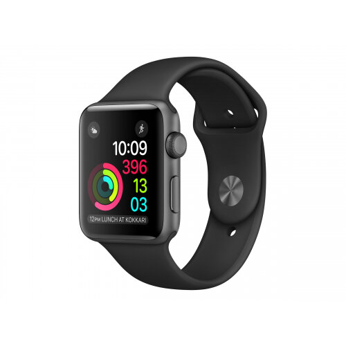 Apple Watch Original - 42 mm - space black stainless steel - smart watch with sport band - black - band size 140-210 mm - S/M/L - Wi-Fi, Bluetooth - 50 g