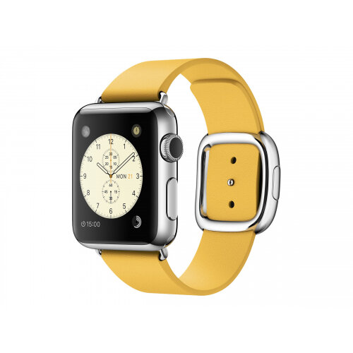 Apple Watch Original - 38 mm - stainless steel - smart watch with modern buckle - leather - marigold - band size 145-165 mm - M - Wi-Fi, Bluetooth - 40 g