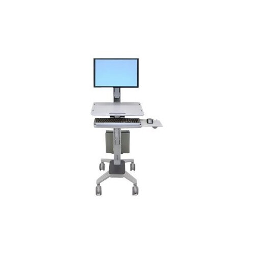 Ergotron WorkFit C-Mod Single Display Sit-Stand Workstation - Cart for LCD display / keyboard / mouse / CPU - plastic, aluminium, steel - two-tone grey - screen size: up to 22""