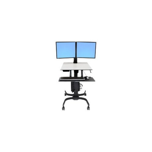 Ergotron WorkFit-C Dual Sit-Stand Workstation - Cart for 2 LCD displays / keyboard / mouse / CPU - grey, black - screen size: 22""