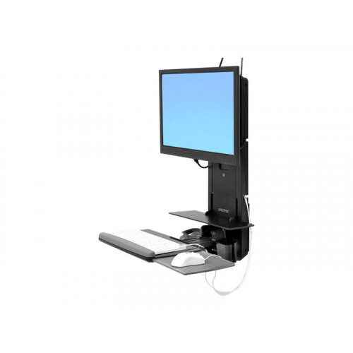 Ergotron StyleView Sit-Stand Vertical Lift, Patient Room - Wall mount for LCD display / keyboard / mouse / bar code scanner - black - screen size: 24""
