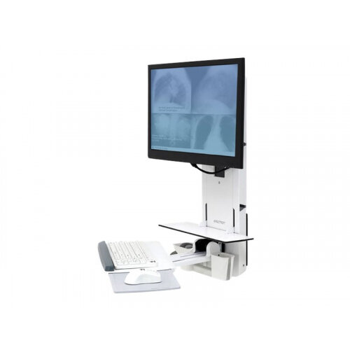 Ergotron StyleView Sit-Stand Vertical Lift, Patient Room - Wall mount for LCD display / keyboard / mouse / bar code scanner - white - screen size: 24""