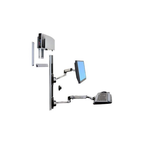 "Ergotron LX Wall Mount System - Mounting kit (wall arm, CPU holder, mouse holder, 2 track covers, keyboard arm, 2 cable channels, wrist rest) for LCD display / keyboard / mouse / CPU - polished aluminium - screen size: up to 24"" - wall-mountable"