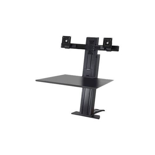 "Ergotron WorkFit-SR Dual Sit-Stand Workstation - Stand (desk clamp mount, surface, column, 2 pivots, crossbar, 2 cord wraps) for 2 LCD displays / keyboard / mouse - aluminium - black - screen size: up to 24"" - table mount"