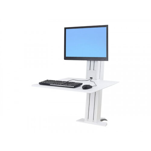"Ergotron WorkFit-SR Sit-Stand Workstation - Stand for LCD display / keyboard - aluminium - white - screen size: up to 24"" - desktop stand"