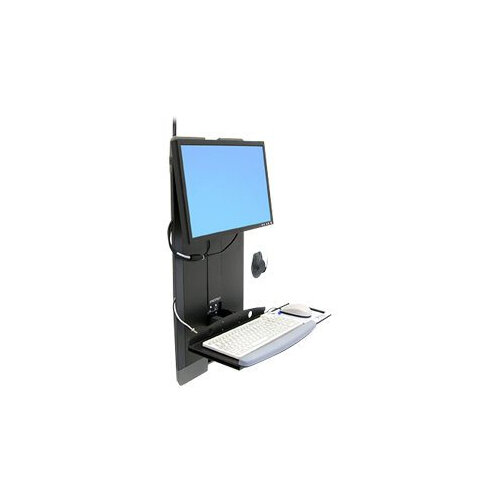 """Ergotron StyleView Vertical Lift High Traffic Areas - Mounting kit (hole-mount pattern adapter, wrist rest, mouse pouch, panel vertical lift, VESA adapter, keyboard tray) for LCD display / keyboard / mouse - steel - black - screen size: 24"""" - on-wall moun"""
