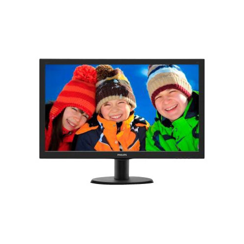 "Philips V-line 243V5LHAB - LED Computer Monitor - 23.6"" - 1920 x 1080 Full HD (1080p) - 250 cd/m² - 1000:1 - 1 ms - HDMI, DVI-D, VGA - speakers - textured black, black hairline"
