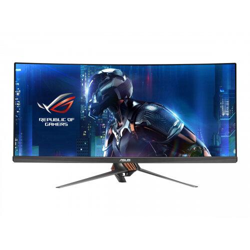 """ASUS ROG SWIFT PG348Q - LED Computer Monitor - curved - 34"""" - 3440 x 1440 - IPS - 300 cd/m² - 1000:1 - 5 ms - HDMI, DisplayPort - speakers - armor titanium, plasma cooper"""