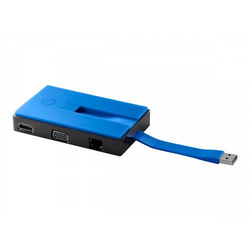 HP USB Travel Dock - Docking station - USB - 10Mb LAN - for EliteBook 755 G3; Spectre Pro x360 G2; x2 210 G2; ZBook 17 G3 Mobile Workstation