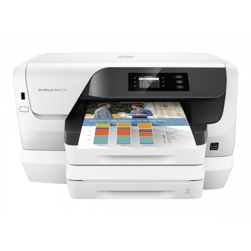 HP Officejet Pro 8218 - Printer - colour - Duplex - ink-jet - A4 - 1200 x 1200 dpi - up to 20 ppm (mono) / up to 16 ppm (colour) - capacity: 500 sheets - USB 2.0, LAN, Wi-Fi(n)