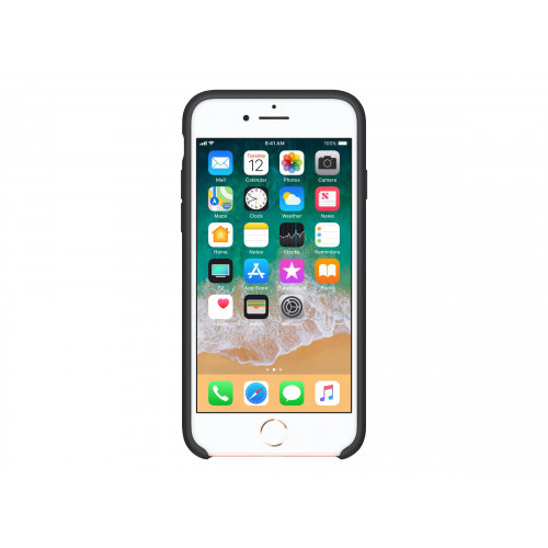 Apple - Back cover for mobile phone - silicone - black - for iPhone 7, 8