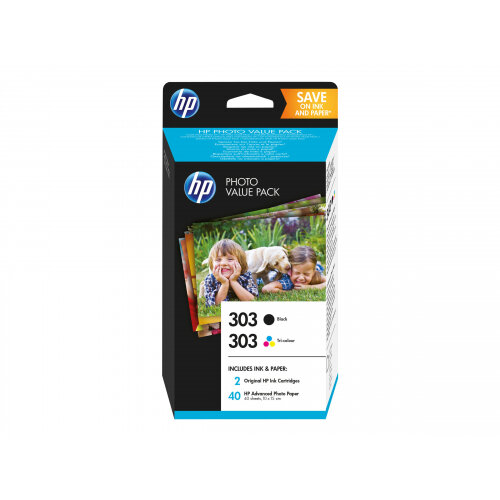 HP 303 Photo Value Pack - Glossy - 2-pack - 4 ml - black, dye-based tricolour - print cartridge / paper kit - for Envy Photo 62XX, Photo 71XX, Photo 78XX