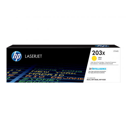 HP 203X Original High Yield Yellow LaserJet Toner Cartridge (CF542X) - for Color LaserJet Pro M254dw, M254nw, MFP M280nw, MFP M281cdw, MFP M281fdn, MFP M281fdw