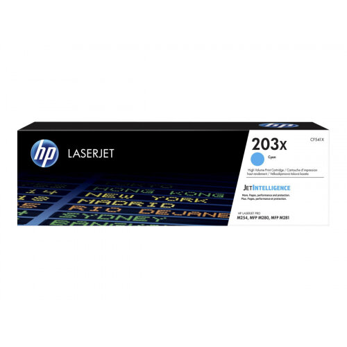 HP 203X Original High Yield Cyan LaserJet Toner Cartridge (CF541X) - for Color LaserJet Pro M254dw, M254nw, MFP M280nw, MFP M281cdw, MFP M281fdn, MFP M281fdw