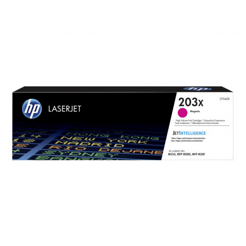 HP 203X Original High Yield Magenta LaserJet Toner Cartridge (CF543X) - for Color LaserJet Pro M254dw, M254nw, MFP M280nw, MFP M281cdw, MFP M281fdn, MFP M281fdw