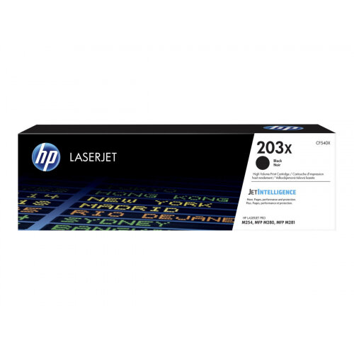 HP 203X Original High Yield Black LaserJet Toner Cartridge (CF540X) - for Color LaserJet Pro M254dw, M254nw, MFP M280nw, MFP M281cdw, MFP M281fdn, MFP M281fdw