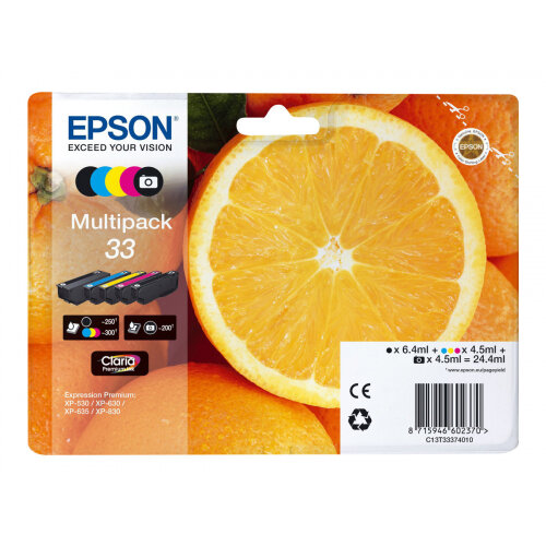 Epson 33 Multipack - 5-pack - 24.4 ml - black, yellow, cyan, magenta, photo black - original - blister - ink cartridge - for Expression Premium XP-530, XP-540, XP-630, XP-635, XP-640, XP-645, XP-830, XP-900