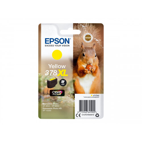 Epson 378XL - 9.3 ml - XL - yellow - original - blister - ink cartridge - for Expression Home HD XP-15000; Expression Photo XP-8500, XP-8500 Small-in-One, XP-8505