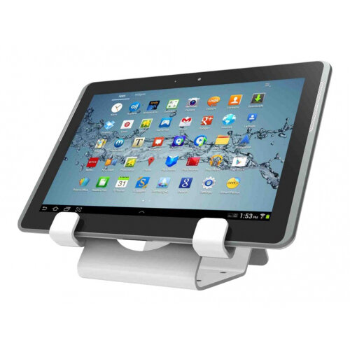 Compulocks Universal Tablet Holder - Keyed Cable Lock - White - Stand for tablet - lockable - high-grade aluminium - white - surface mountable
